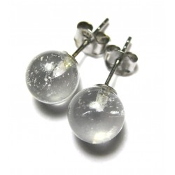 Ohrstecker Bergkristall Kugel 8 mm 925er Silber