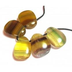 Trommelstein gebohrt Fluorit bunt mit gelb VE 5 Stück