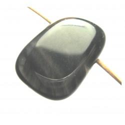 Trommelstein gebohrt Obsidian Lamellen-